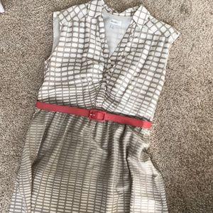Dressbarn collared sleeveless A-line dress w/ belt